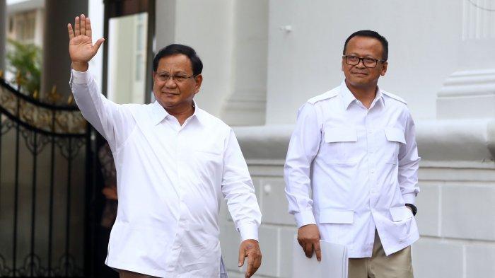 Ketua Umum Partai Gerindra, Prabowo Subianto (kiri) didampingi Wakil Ketua Umum Partai Gerindra, Edhy Prabowo keluar dari dalam kompleks Istana Kepresidenan, Jakarta Pusat, Senin (21/10/2019) sore. Sesuai rencana, Presiden Joko Widodo memperkenalkan jajaran kabinet barunya kepada publik mulai hari ini usai Jokowi dilantik pada Minggu (20/10/2019) kemarin untuk masa jabatan periode 2019-2024 bersama Wakil Presiden Ma'ruf Amin.