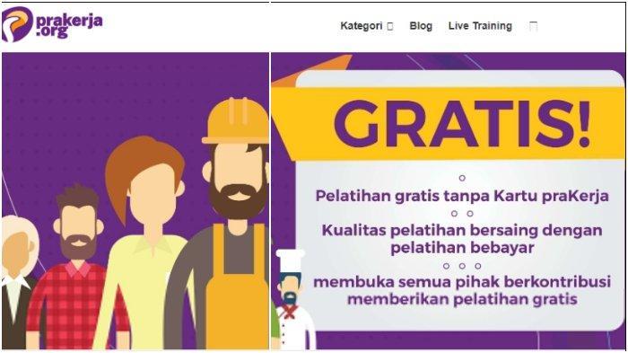 Situs pelatihan online saingan Kartu Prakerja bernama Prakerja.org yang memberikan semua pelatihan secara gratis.