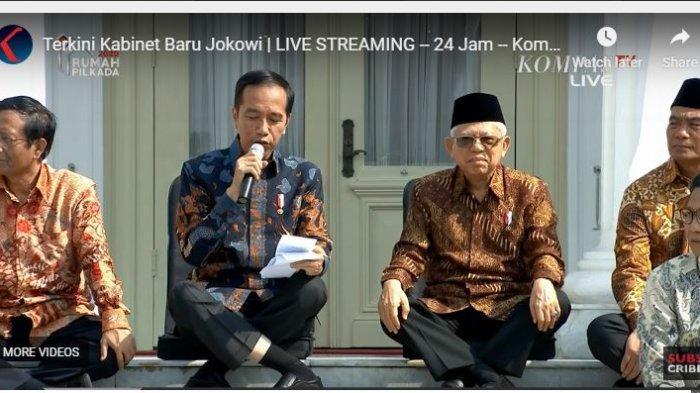 Presiden Joko Widodo saat mengumumkan Kabinet Menteri Baru, Rabu (23/10/2019)