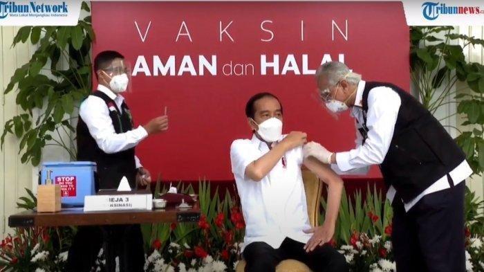 Presiden Jokowi disuntik Vaksin Covid-19.