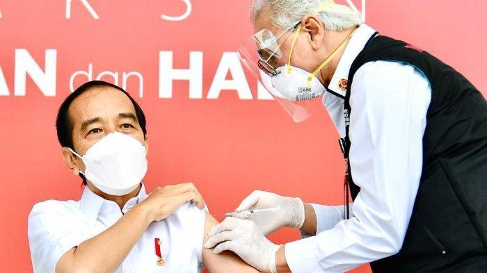 Presiden Jokowi menjadi pertama yang disuntik vaksin Covid-19, Rabu (13/1/2020).