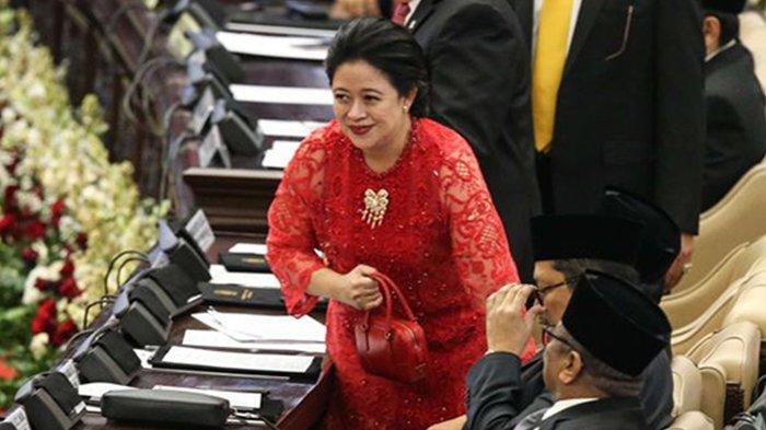 Puan Maharani saat pelantikan anggota DPR, DPD, dan MPR periode 2019 - 2024 pada sidang paripurna di Kompleks Parlemen, Senayan, Jakarta, Selasa (1/9/2019).