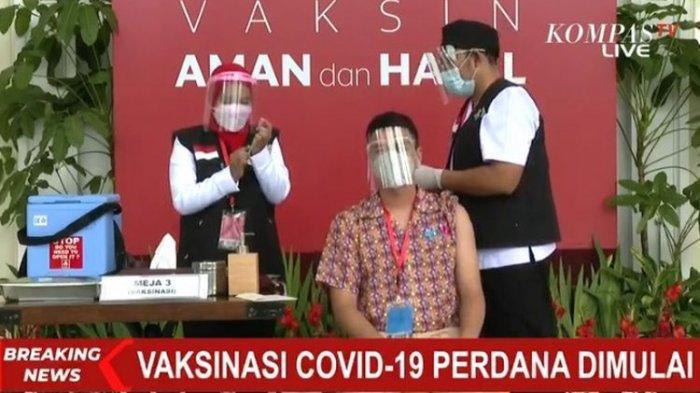 Raffi Ahmad divaksinasi vaksin Covid-19 pada Rabu (13/1/2021) di Istana Negara, Jakarta.