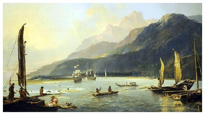 Lukisan HMS Resolution dan HMS Adventure, dua kapal yang dibawa James Cook ke Tahiti