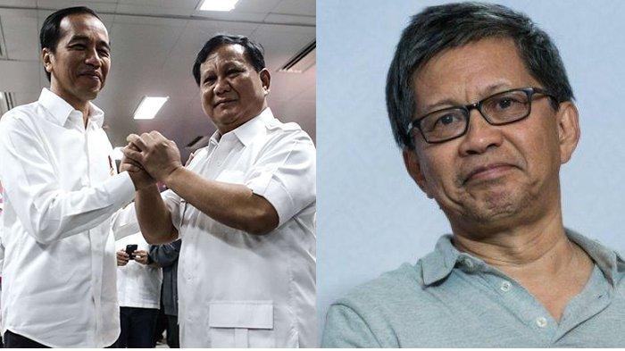 Rocky Gerung mengkritisi masuknya Prabowo Subianto jadi kabinet Jokowi-Ma'ruf Amin sebagai Menteri Pertahanan. (Kolase TribunnewsWiki - Kompas)