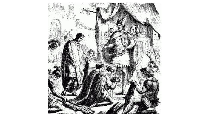 Romulus Augustus menurunkan mahkotanya di depan Odoacer