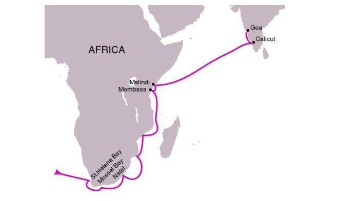 Rute pertama pelayaran Vasco da Gama ke India