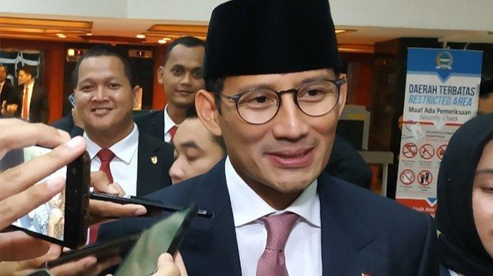 Sandiaga Uno di Kompleks Parlemen, Senayan, Jakarta, Minggu (20/10/2019)