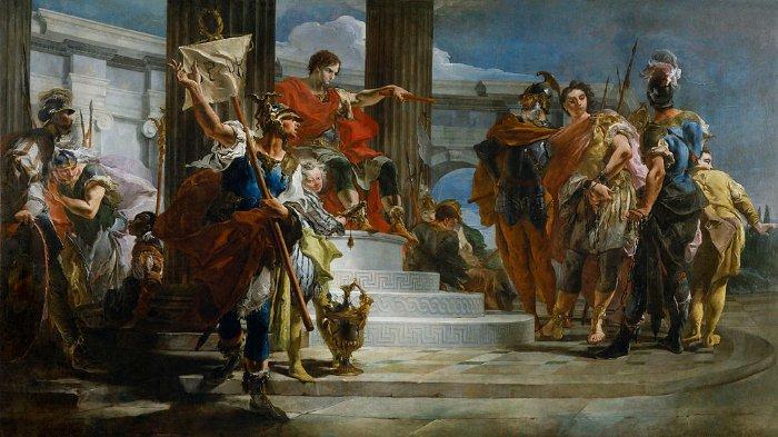 Scipio Africanus (duduk di atas) melepaskan keponakan Pangeran Nubia