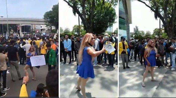 Seorang waria ikut melakukan aksi demo hingga memimpin orasi bermasa dengan mahasiswa.