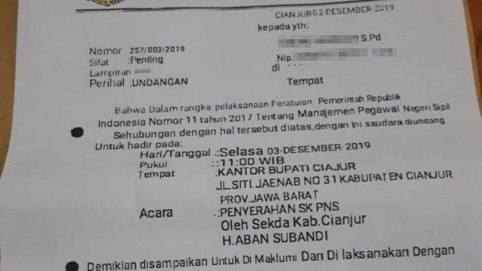 SK CPNS Palsu --- Modus Penipuan, Guru di Cianjur Dapat Undangan Palsu Penyerahan SK PNS dan Diminta Menyetor Uang
