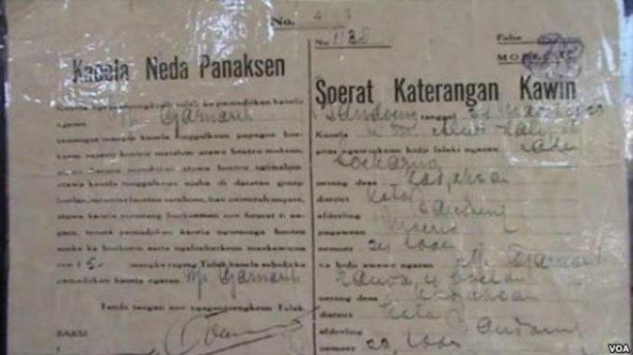 Surat nikah Presiden RI Pertama Soekarno dan Inggit Garnasih.
