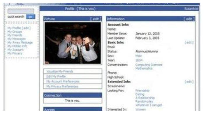 Tampilan Facebook tahun 2005