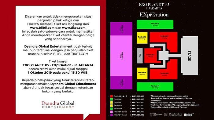 Pengumuman mengenai harga dan tempat pembelian tiket konser EXO di Jakarta