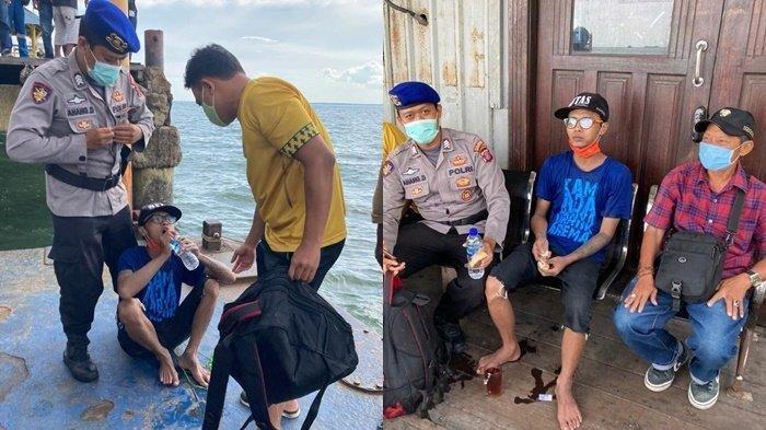 Dedik Purnomo (Pakai baju biru dan topi hitam) nekat berenang dari Balikpapan ke Malang, Jawa Timur, lantaran tidak punya biaya.