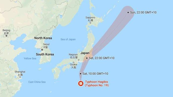 Typhoon Hagibis(Screen shot google map)