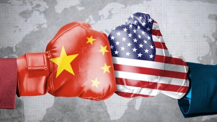Ilustrasi perseteruan antara Amerika Serikat dan China.