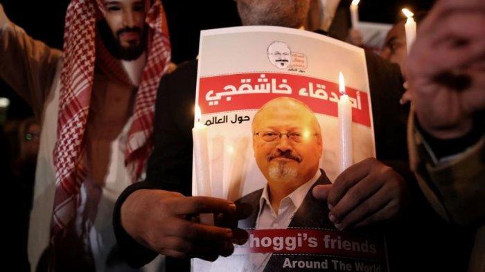 Unjuk rasa menuntut pengungkapan kasus pembunuhan Jamal Khashoggi di Turki, beberapa waktu lalu