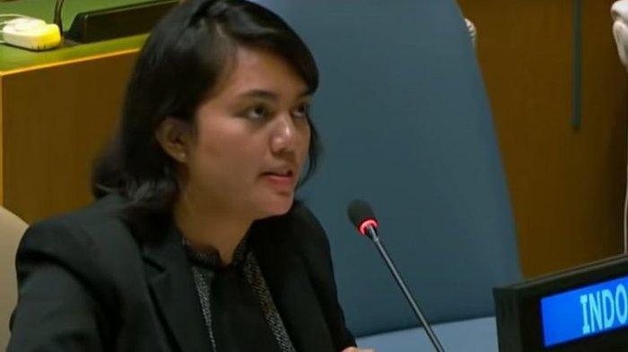 Diplomat perwakilan Indonesia, Silvany Austin Pasaribu saat memberikan hak jawab untuk tuduhan Vanuatu tentang pelanggaran HAM di Papua. (YouTube/United Nations)