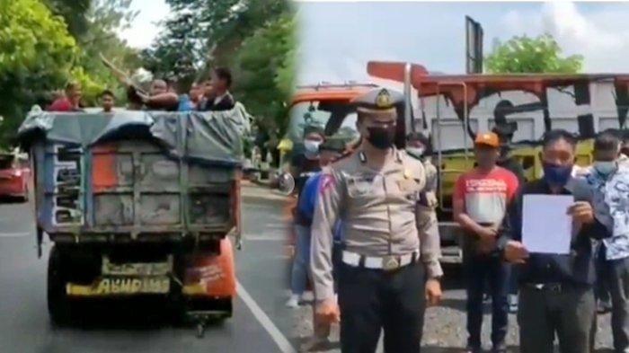 Sebuah video viral di media sosial, memperlihatkan aksi sejumlah orang yang mandi di atas truk yang sedang berjalan
