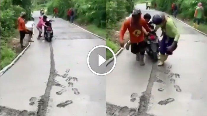 Seorang pemotor di di Desa Tugu, Kecamatan Sendang, Kabupaten Tulungagung, Jawa Timur, nekat menerobos jalan yang masih basah karena tengah dicor, motornya terjebak adonan semen.