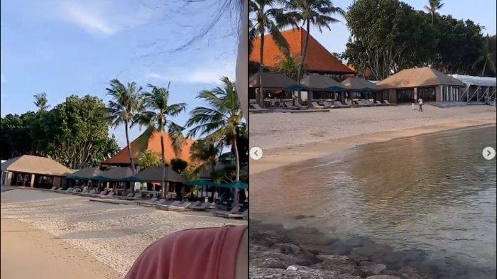 Tangkapan layar video milik warga bernama Mirah Sugandhi yang mengaku diusir sekuriti karena masuk ke dalam kawasan pantai Sanur yang diklaim sebagai pantai privat milik hotel.