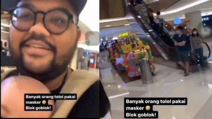 Tangkapan layar video pria di Surabaya sebut pengunjung mall tolol karena pakai masker.
