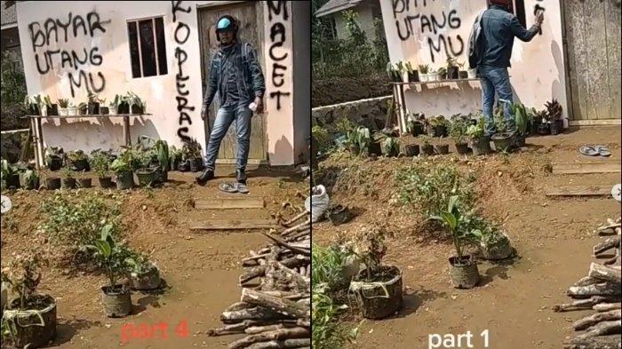 Tangkapan layar video viral debt collector tagih utang nasabah dengan cara mencoret dinding dan menuliskan 'Bayar Utangmu, Koperasi Macet