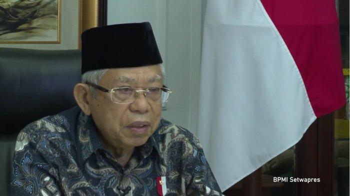Wakil Presiden Ma'ruf Amin saat memberikan enghargaan Pelayanan Publik di Lingkungan Polres/Polresta/Polrestabes/Polresmetro 2020, Selasa (16/2/2021).