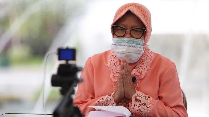 Wali Kota Surabaya Tri Rismaharani pamitan pada warga Surabaya tepat pada perayaan di Hari Jadi Kota Surabaya (HJKS) ke-727, Minggu (31/5/2020). (Pemkot Surabaya)