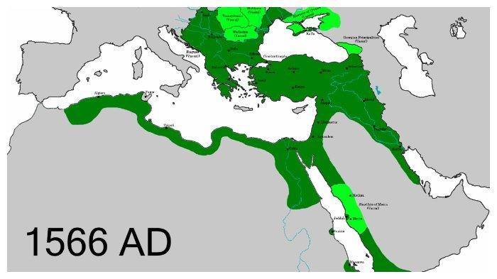 Wilayah kekuasaan Imperium Turki Utsmani ketika Sulaiman Yang Agung mangkat