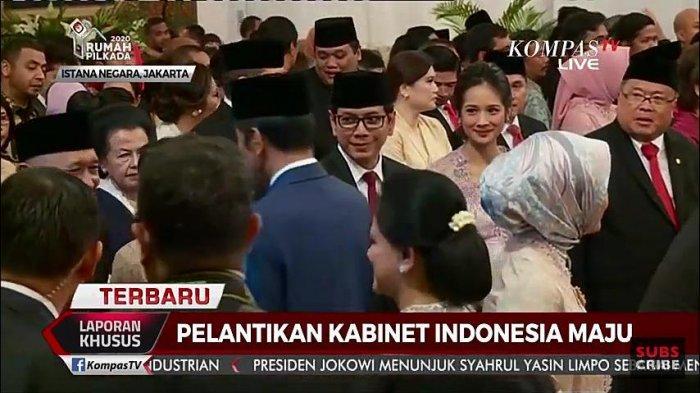 Wishnutama dan Gista Putri saat pelantikan menteri Kabinet Indonesia Maju, Rabu (23/10/2019).