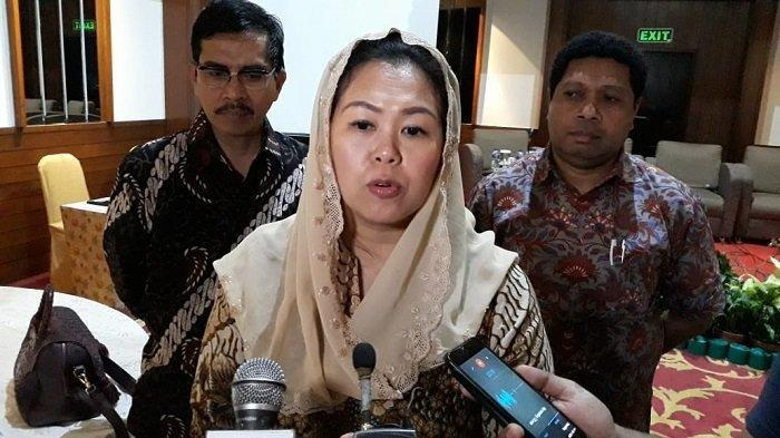 Putri Presiden keempat RI Abdurrahman Wahid (Gus Dur), Yenny Wahid saat ditemui di Hotel Sari Pacific, Jakarta Pusat, Rabu (25/9/2019). (Tribunnews.com/ Fransiskus Adhiyuda)