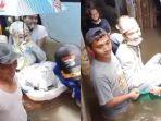 Viral Pengantin Naik Bak Mandi untuk Terobos Banjir, Pengunggah Sempat Takut Jadi Bahan Ledekan
