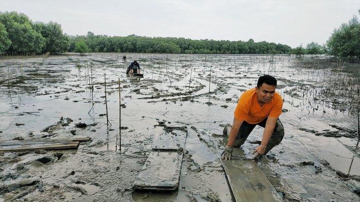 Kegiatan manongkah atau mencari kerang dengan papan di ekowisata Pantai Terumbu Mabloe di Desa Sungai Bela , Kecamatan Kuala Indragiri (Kuindra), Kabupaten Indragiri Hilir (Inhil).