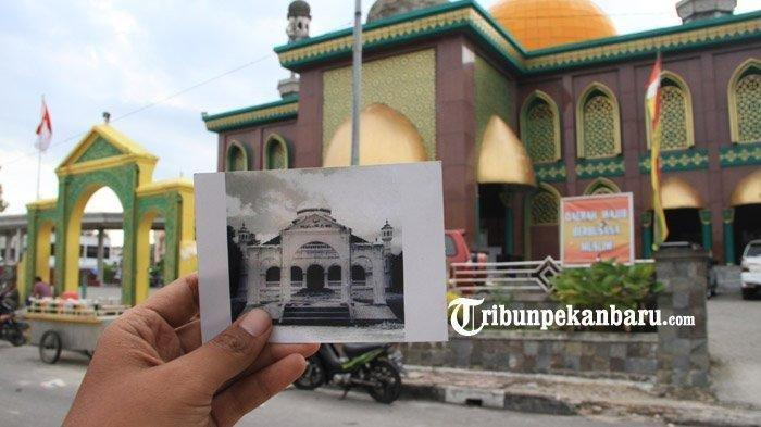 Masjid Raya Senapelan atau Masjid Raya Pekanbarusebelum dan sesudah direvitalisasi
