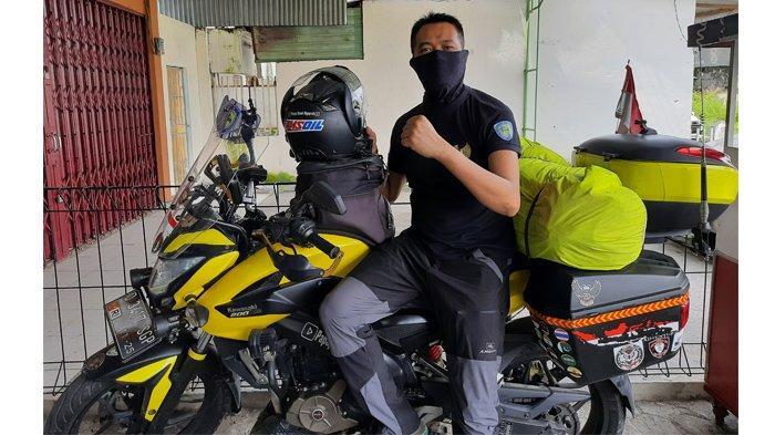 Singgah di Pekanbaru, Pria Asal Cimahi Bambang Sukmana Naik Sepeda Motor Tunaikan Ibadah Haji