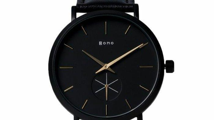 Jam tangan brand lokal warna hitam Bono Watch.