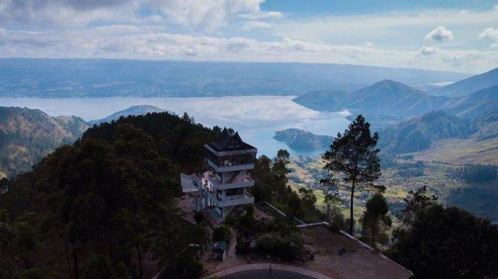 Tempat wisata bernama Menara Pandang Tele di Kabupaten Samosir, Sumatera Utara.