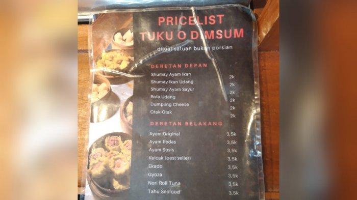 Menu di Tukuo Dimsum, Jebres, Solo