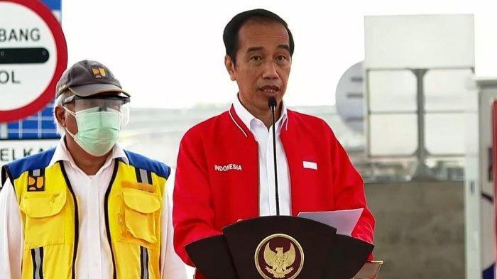 Presiden Jokowi saat memberikan kata sambutan diacara Peresmian Tol Kayuagung - Palembang - Betung, Ruas Kayuagung Palembang, Selasa (26/1/2021).