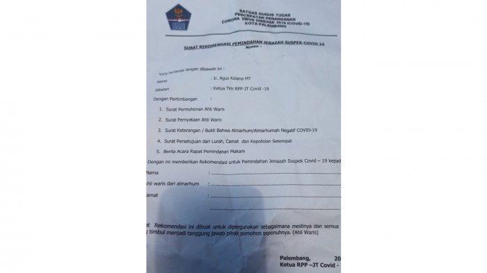 Surat rekomendasi pemindahan jenazah suspek Covid-19.