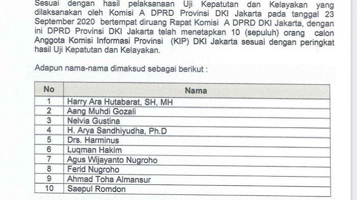 DPRD DKI Jakarta Tetapkan 10 Calon Anggota Komisi Informasi Provinsi Periode 2020 - 2024