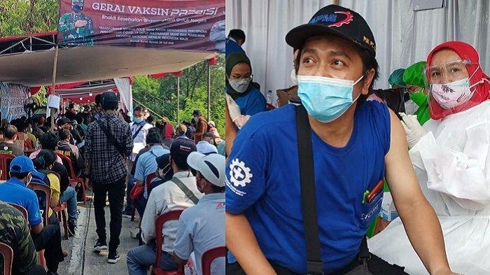 Ada 1.500-an Buruh Kabupaten Bekasi Menjalani Vaksinasi Covid-19 di Omah Buruh Kawasan Industri EJIP