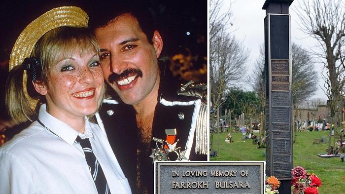 Freddie Mercury bersama istri dan kuburannya