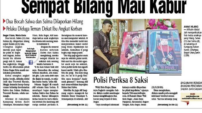 Dua Bocah di Bogor Diculik, Sempat Bilang Mau Kabur