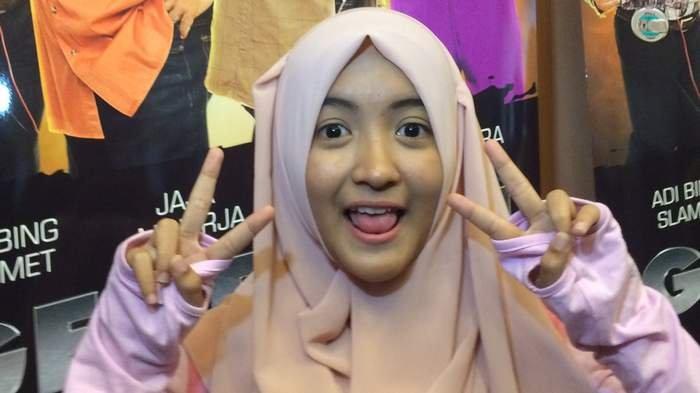 Arafah Rianti saat ditemui di acara launching trailer film 'Generasi Kocak: 90an vs Komika' di Gado-Gado Boplo, Jakarta Pusat, Selasa (24/1).