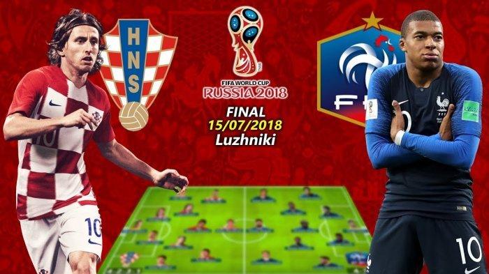 LIVE STREAMING Final Piala Dunia 2018: Perancis Tak Mau Salah Lagi, Kroasia Siap Tempur