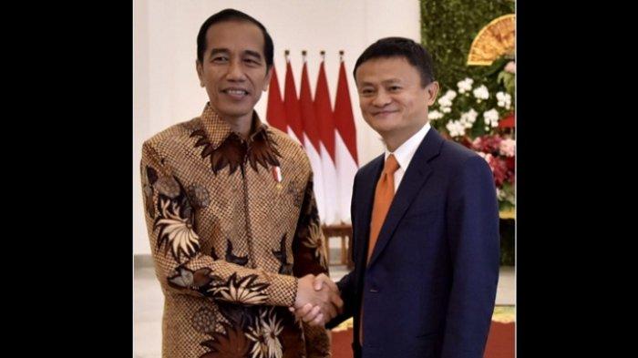 PRESIDEN Joko Widodo dan pendiri sekaligus Executive Chairman Alibaba Group, Jack Ma, di Istana Presiden Bogor, Jawa Barat, Sabtu (1/9/2018).