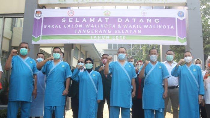Tiga bakal calon Walikota dan Wakil Walikota Tangerang Selatan, Siti Nur Azizah-Ruhamaben, Benyamin Davnie-Pilar Saga Ichsan dan Muhammad-Rahayu Saraswati Djojohadikusumo, menjalani tes kesehatan di RSUD Kabupaten Tangerang, Selasa (8/9/2020).